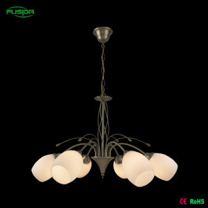 Traditional European Style Home Decoration Light White Glass Chandelier pictures & photos