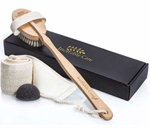 Loofah Back Scrubber & Body Brush for Dry Skin Brushing with 100% Natural Boar Bristles