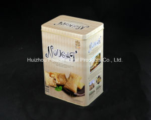 OEM Logo and Pattern Rectangular Tin Box for Snacks Packing Biscuit Tin Can