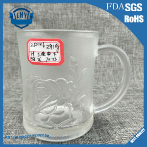 New Design Machine-Cut Pressed Clear Glass Handle Rose Glassware Cup (GB094409MG)