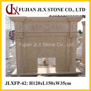 Egypt Beige Marble Classic Style Stone Fireplace