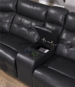 Living Room Furniture Recliner Corner Air Leather Sofa with Cupholder in Black Color pictures & photos