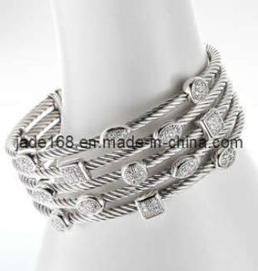 Fashion Sterling Silver Cubic Zirconia Bracelet Jewelry (SSB-012)