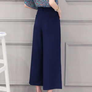2016 New Design Blue Palazzo Trousers for Women Ladies Wide Leg Pants pictures & photos