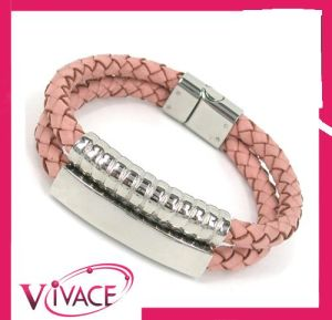 Fashion Stainless Steel Leather Bracelet Bangle