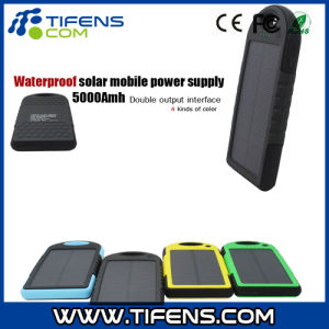 5000mAh Waterproof Shockproof Solar Panel Charger Power Bank for iPhone6 Smartphone
