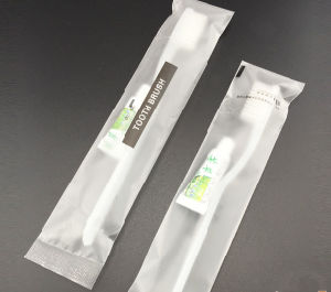 Print Logo Plastic Bag Hi-Q Toothbrush +Toothpaste for Five Hotel pictures & photos