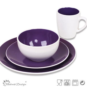 Purple Color Ceramic Stoneware Bicolor Dinner Set pictures & photos