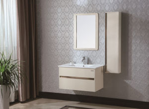 Ceramic Countertop Modern Sanitary Ware Solid Wood Bathroom Vanity Cabinet