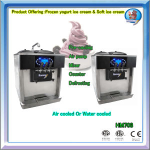 3 Flavors Table Top Soft Ice Cream Machine HM708 pictures & photos