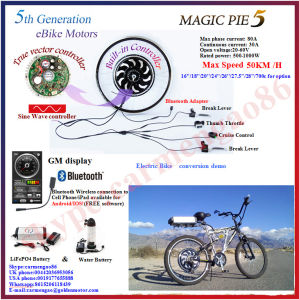 New! Bluetooth Programmable! 48V 1000W Golden Motor Magic Pie 5 Ebike Conversion Kit with Display Available for for Android/Ios pictures & photos