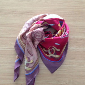Printed Wool Scarf in Chain Pattern