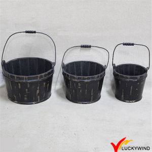 Black Wooden Barrel for Flower or Plant (Brand name: Luckywind) pictures & photos