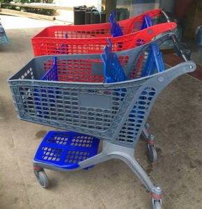 Pure Plastic Hot Sale Hand Metal Supermarket Trolley with Chair pictures & photos