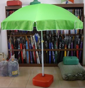 Green Color Large Beach Umbrella with White Tilt Shaft (JB815)