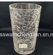 Hand Made Ice Crackle Glass Vase (V-027) pictures & photos