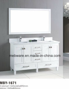 "60"" White Wood Bathroom Vanity with Marble Top"