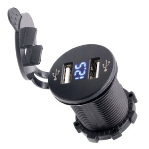 Dual USB Charger Socket Power Outlet 2.1A & 2.1A with Voltmeter for Car Boat Marine Mobile pictures & photos