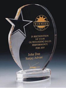 Crystal Glass Trophy Award Shield with Color Print Logo pictures & photos