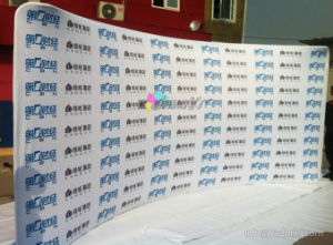 Customized 20FT Wide Portable Spandex Fabric Backdrops Curved Tube Display