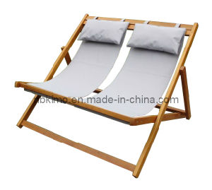 Wooden Double Deck Chair With Pillow Portable Beach 1008