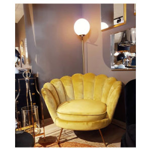 Gold Legs Yellow Velvet Living Room
