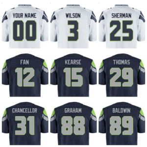 Seattle Football Jersey Custom Regular Wilson Sherman Thomas Chancellor Smith Blue White Grey Green Man Lady Kids Clothes Tees
