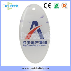 RFID Oval Shape Crystal Card MIFARE Plus Key Tag No Peeling off Key Ring