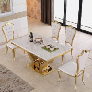 Modern Luxury Gold Stainless Steel 6 Seater Dining Table With Chair