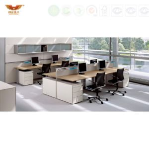 Modern Double Side L-Shape 4-Person Workstation with Partition Divider pictures & photos