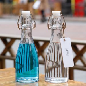 5e4b0b9ff07b 350ml Wholesale Glass Container/ Condiment Container/ Drinking Glass  Bottles with Locked Swing Tops on Sale