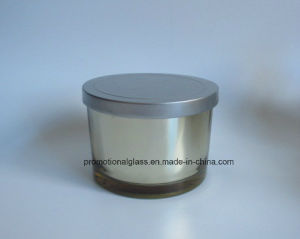 Electroplate Cylinder Glass Candle Jar with Metal Lid