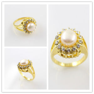 China Saudi Gold Jewelry Alloy Pearl Ring RAH0007 China Pearl