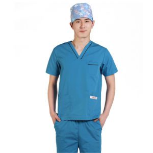 100% Cotton V-Neck Hospital Staff Scrubs Uniforms with Short Sleeve pictures & photos