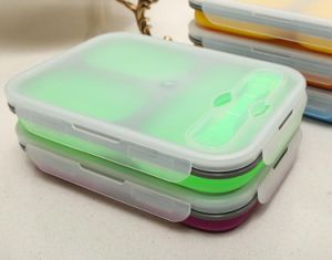 Three Lattice Food Grade Silicone Foldable Lunch Box pictures & photos