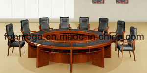 Round Wood Veneer Office Boardroom Table With Chair (FOH H3606)