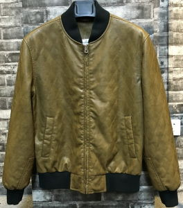 Man Diamond Quilted Bomber PU Leather Jacket pictures & photos