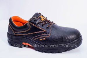 Low Cut Black Embossed PU Leather Safety Shoe Valued-O1