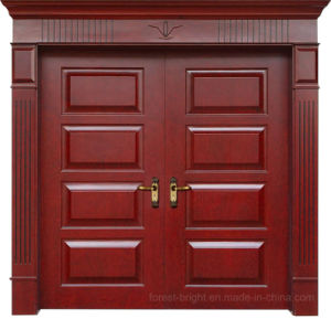 Atmospheric Luxury Double Leaves Solid Wooden Entry Door for Villa pictures & photos