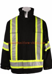 Wholesale Black 2X3 100%Cotton Duck Canvas Mens Winter Thermal Jackets Parka with 4′′ Reflective Tape pictures & photos