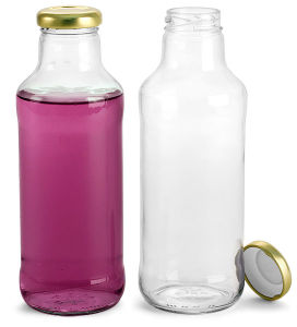 Clear Glass Beverage Bottles with Gold Metal Cap
