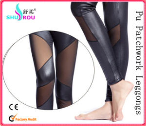Fashion and Sexy PU Leather Patchwork Clothing Leggings Women Pants Trousers (SR-2005)