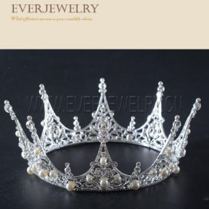 Hair Jewelry Bride Pageant Beautiful Crown Pearl Tiara Crowns pictures & photos