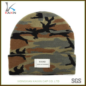 6f7f706ea Custom Made Knitted Camo Beanie Hat with Woven Label