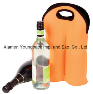 Custom Printed Promotional Orange Neoprene Double Bottle Wine Cooler pictures & photos