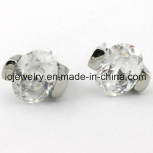 White CZ Gemstone for Single Stone Women Earrings pictures & photos