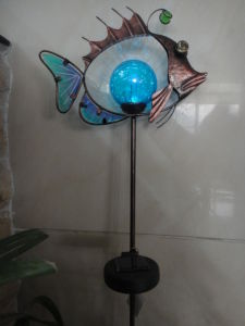 Metal Golden Fish Shape Crafts with Solar Power Lights