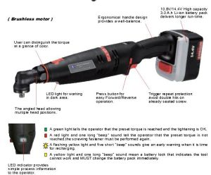 Cordless Shut-off Angle Wrench/Screwdriver Industrial Cordless Tools