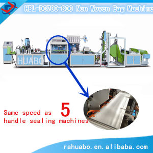 Non Woven Box Bag Making Machine with Online Handle Attached pictures & photos