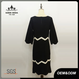 Women Wave Stripe White and Black Dress pictures & photos